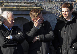 Kevin Doyle and Kevin Kilbane at St. John the Baptist Church in Ovens, County Cork, for the funeral of former Celtic and Manchester United footballer Liam Miller.  PRESS ASSOCIATION Photo. Picture date: Monday February 12, 2018. See PA story SOCCER Miller. Photo credit should read: Clare Keogh/PA Wire