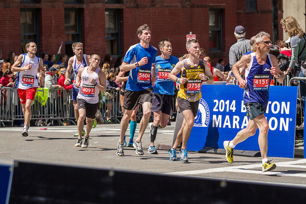 2014 Boston Marathon: runners heading for the finish line