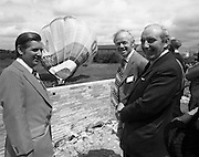 New Bottling plant for D.E.Williams..1975..19.06.1975..06.19.1975..19th June 1975..The Minister for Justice, Mr Patrick Cooney TD, officially opened the new one and a half million gallon per annum soft drink facility at Tullamore,Co Offaly. The new plant represents an investment of over a quarter million pounds by the Williams Group. It is hoped that this investment will create further employment for the area...Pictured as the giant hot air balloon,advertising D E Williams,is inflated marking the occasion of the facility opening is the Minister,Patrick Cooney, Mr W J Ralph and Mr Edmund Williams.