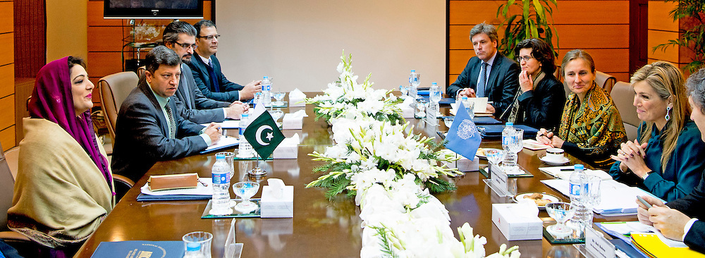 Queen Maxima of the Netherlands  Meeting with the headquarters of the National Telecommunications Company Minister of Information Technology and Telecommunications, Mr. Anusha Rahman and the chairman of the Pakistan Telecommunications Authority, Mr Syed Ismail Shah. in islamabad on 11 february 2016 .. Queen Maxima is in Pakistan as United Nations Secretary-General&rsquo;s Special Advocate for Inclusive Finance for Development to promote and support financial services in development countries. copyright robin utrecht<br /> ISLAMABAD - Koningin Maxima heeft in Islamabad een ontmoeting met de minister van Informatie Anusha Rahman en de directeur Syed Ismail Shah van het Pakistaanse telecombedrijf. Maxima brengt een driedaags bezoek aan het Aziatische land als speciaal pleitbezorger van de VN op het gebied van inclusieve financiering voor ontwikkeling.