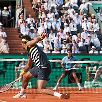 5 June 2009: Juan Martin Del Potro of Argentina hits a backhand during the Men's Singles Semi Final match on day thirteen of the French Open at Roland Garros in Paris, France.