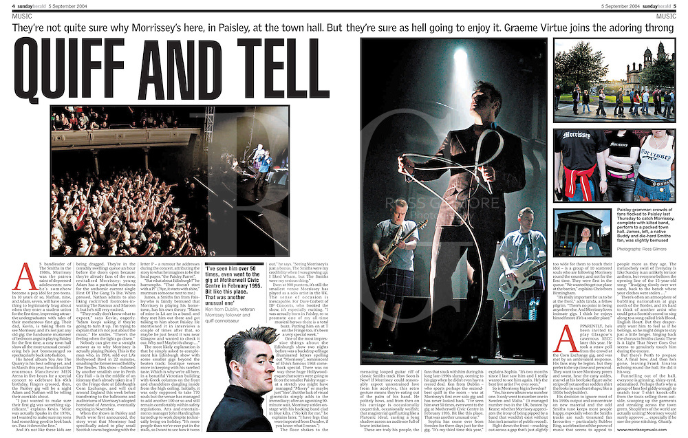 Morrissey plays Paisley town hall.<br /> Sunday Herald, Arts Feature