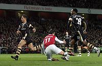 Photo: Olly Greenwood.<br />Arsenal v Charlton Athletic. The Barclays Premiership. 02/01/2007. Charlton's Osei Sankofa fouls Arsenal's Robin Van Persie and is sent off