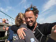 NEW YORK, NY - MAY 11: Thomas Coville onboard his Sodebo 'Ultim' trimaran, shown here celebrating after winning the 'Transat Bakerley' solo transatlantic yacht race. The yachtsman finish in 2nd place, crossing the finish line in 8 days, 18 hours and 32 minutes minutes and 39 seconds. The race started in Plymouth, UK on Monday May 3rd.  May 11, 2016 on the Hudson River in New York City.  (Photo by Lloyd Images)