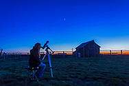 Observing Venus in the spring evening sky, May 2015, at the Old Man on His Back Prairie and Heritage Conservation Area in southwest Saskatchewan. This is a single exposure with the 24mm lens and Canon 6D.
