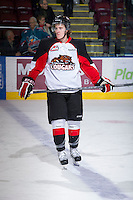 KELOWNA, CANADA - DECEMBER 8: Tanner Lishchynsky #4 of the Prince George Cougars skates on the ice at the Kelowna Rockets on December 8, 2012 at Prospera Place in Kelowna, British Columbia, Canada (Photo by Marissa Baecker/Shoot the Breeze) *** Local Caption ***