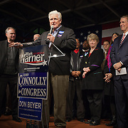 Former Congressman, Jim Moran (8-VA), speaks to supporters during a Democrat get out the vote (GOTV) rally at Market Square in Old Town Alexandria, VA, on  Monday, November 3, 2014, the day before Election Day.  John Boal Photography