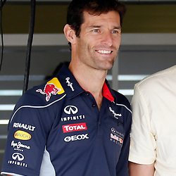 FORMULA 1 SANTANDER BRITISH GRAND PRIX ..Mark Webber in the Red Bull garage....(c) STEPHEN LAWSON | SportPix.org.uk