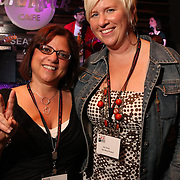 Event producers Jamie Peha and Jen Doak at Seattle's 3rd Annual Wine Rocks at the Hard Rock Cafe benefitting Arts Corps.