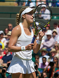02.07.2014, All England Lawn Tennis Club, London, ENG, WTA Tour, Wimbledon, im Bild Eugenie Bouchard (CAN) celebrates her match-point during the Ladies' Singles Quarter-Final match on day nine // during the Wimbledon Championships at the All England Lawn Tennis Club in London, Great Britain on 2014/07/02. EXPA Pictures © 2014, PhotoCredit: EXPA/ Propagandaphoto/ David Rawcliffe<br /> <br /> *****ATTENTION - OUT of ENG, GBR*****