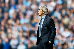 Manager Manuel Pellegrini of Manchester City shouts at his struggling side - Photo mandatory by-line: Rogan Thomson/JMP - 07966 386802 - 30/08/2014 - SPORT - FOOTBALL - Manchester, England - Etihad Stadium - Manchester City v Stoke City - Barclays Premier League.