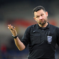 TELFORD COPYRIGHT MIKE SHERIDAN 5/1/2019 - Referee David McNamara, who was suspended in November 2018 for using a 'rock, paper, scissors' game instead of a coin toss, during the Vanarama Conference North fixture between AFC Telford United and Spennymoor Town.