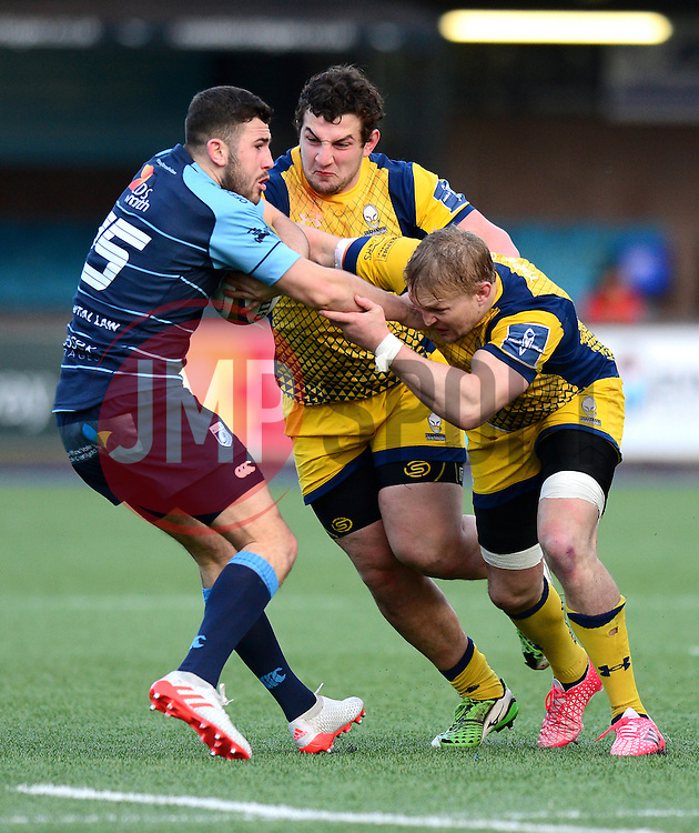 Aled Summerhill of Cardiff Blues is tackled by Dewald Potgieter (c) of Worcester Warriors - Mandatory by-line: Dougie Allward/JMP - 04/02/2017 - RUGBY - BT Sport Cardiff Arms Park - Cardiff, Wales - Cardiff Blues v Worcester Warriors - Anglo Welsh Cup