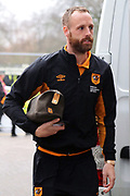 Hull City midfielder David Meyler (8) arrives at the KCOM Stadium prior to the EFL Sky Bet Championship match between Hull City and Aston Villa at the KCOM Stadium, Kingston upon Hull, England on 31 March 2018. Picture by Mick Atkins.
