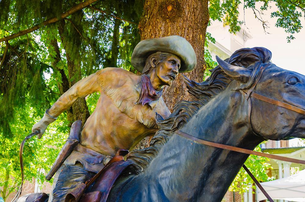 Statue of a Pony Express rider, Jacksonville, Oregon USA