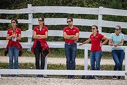 THEODORESCU Monica (Bundestrainer Dressur GER), WOLF Stefanie (Trainer), HEINZE Sebastian (Trainer)<br /> Impressionen vom Abreiteplatz<br /> U25 Intermediare II - Team Test<br /> Pilisjászfalu - FEI Youth Dressage EUROPEAN CHAMPIONSHIPS 2020<br /> 18. August 2020<br /> © www.sportfotos-lafrentz.de/Stefan Lafrentz