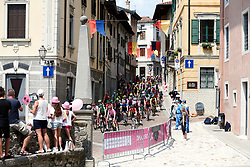 The peloton make their way through Gemona during Stage 9 of 2019 Giro Rosa Iccrea, a 125.5 km road race from Gemona to Chiusaforte, Italy on July 13, 2019. Photo by Sean Robinson/velofocus.com