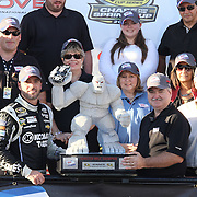 "Jimmie Johnson (48) celebrates with his teammates after winning NASCAR SPRINT CUP ""AAA 400″ auto race at Dover International Speedway in Dover, DE Sunday,  Sept  29, 2013"