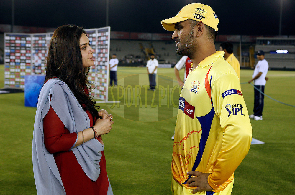 Kings XI Punjab owner Priety Zinta (L) talks with Chennai Super Kings captain Mahender Singh Dhoni afte match 9 of the Indian Premier League ( IPL ) Season 4 between the Kings XI Punjab and the Chennai Super Kings held at the PCA stadium in Mohali, Chandigarh, India on the 13th April 2011..Photo by Money Sharma/BCCI/SPORTZPICS