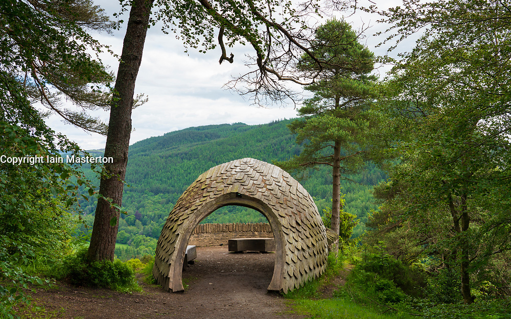 The Pine Cone Point viewpoint in Inver Wood above The Hermitage in Perthshire, Scotland , Uk