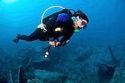 Diver at a shipwreck at Ras Mohammed National Park, Red Sea, Sinai, Egypt,