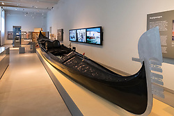 Venetian gondola on display Museum of European Cultures in Dahlem, Berlin, Germany