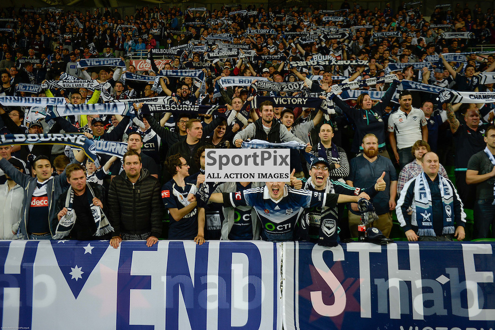 Excited Victory fans celebrate the 2:0 win over Perth Glory in the Westfield FFA Cup Final, 7th November 2015, Melbourne Victory FC v Perth Glory FC - © Mark Avellino | SportPix.org.uk