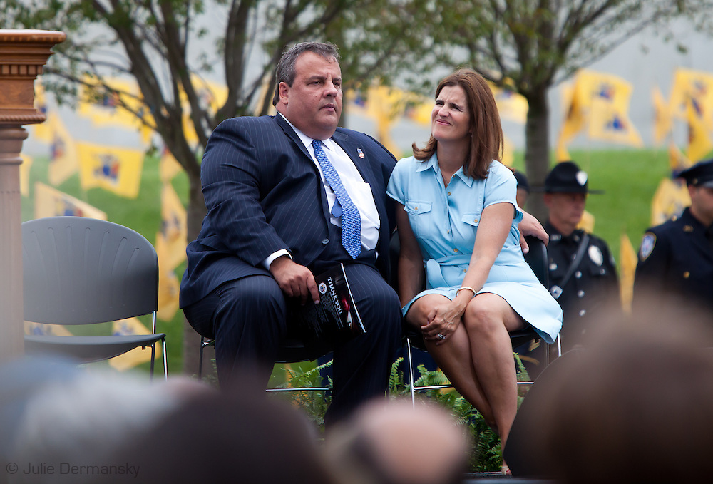 Governor Chris Christie speaks at  the dedication ceremony of the  Empty Sky  9/11 Memorial at Liberty State Park in New Jersey  the day before the tenth anniversary of 9/11.<br /> <br /> The memorial is two 30-Ft rectangular towers  208 feet by 10 inches long,  the width of the World Trade Center towers and with the names of the 746 New Jerseyans who perished after the terrorist attacks on 9/11, 2001  etched in stainless steel.