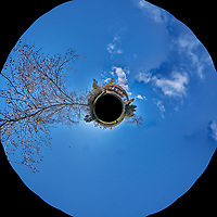 Backyard South West 360 degree Little Planet View. Composite of 26 images taken with a Fuji X-T1 camera and Zeiss 12 mm f/2.8 lens (ISO 200, 12 mm, f/11, 1/125 sec). Raw images processed with Capture One Pro and AutoPano Giga Pro.