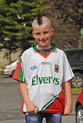 Mayo supporter Alex Coyne from Westport on his way to the Gaelic grounds.<br />