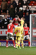 Charlton Athletic defender Rodd Fanni heads the ball during the Sky Bet Championship match between Charlton Athletic and Milton Keynes Dons at The Valley, London, England on 8 March 2016. Photo by Martin Cole.