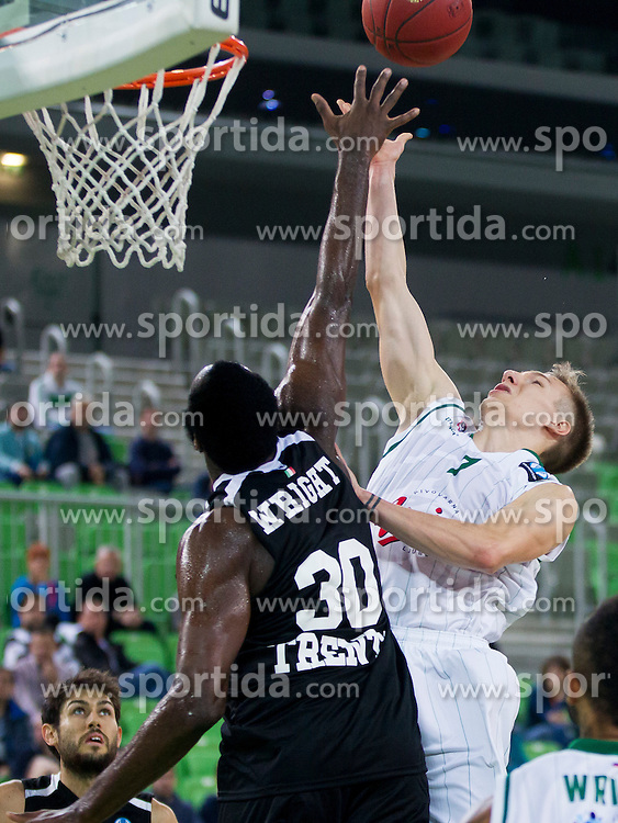 Julian Wright of Trento and Gregor Hrovat #7 of KK Union Olimpija during basketball match between KK Union Olimpija Ljubljana and Dolomiti Energia Trento (ITA) in Round #1 of EuroCup 2015/16, on October 14, 2015 in Arena Stozice, Ljubljana, Slovenia. Photo by Urban Urbanc / Sportida