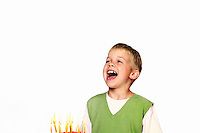 Young Child blowing out his birthday candles