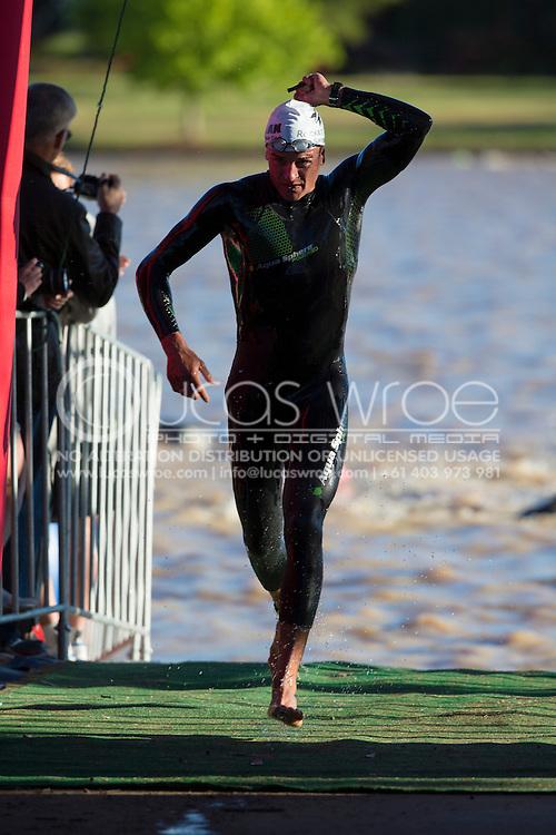 Terenzo Bozzone (NZL). 2012 Ironman Shepparton 70.3 Triathlon. Shepparton, Victoria, Australia. 18/11/2012. Photo By Lucas Wroe