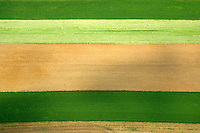 Aerial view of Amish Farm, showing the texture and lines in the earth.