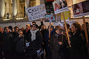 Demonstration against proposed Turkish legislation to clear men of child sex assault if they marry their victims. Trafalgar Sq.  .  London.  21 November 2016