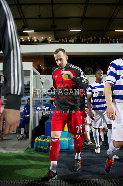 LONDON, ENGLAND - Wednesday, March 21, 2012: Liverpool's Charlie Adam walks out to face Queens Park Rangers before the Premiership match at Loftus Road. (Pic by David Rawcliffe/Propaganda)