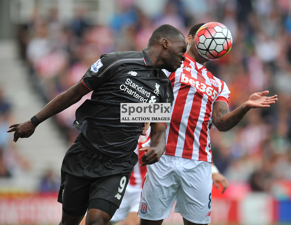 Liverpools Christian Benteke attacks Stoke Defence, Stoke City v Liverpool Premiership Brittania Stadium, Sunday 9th August 2015