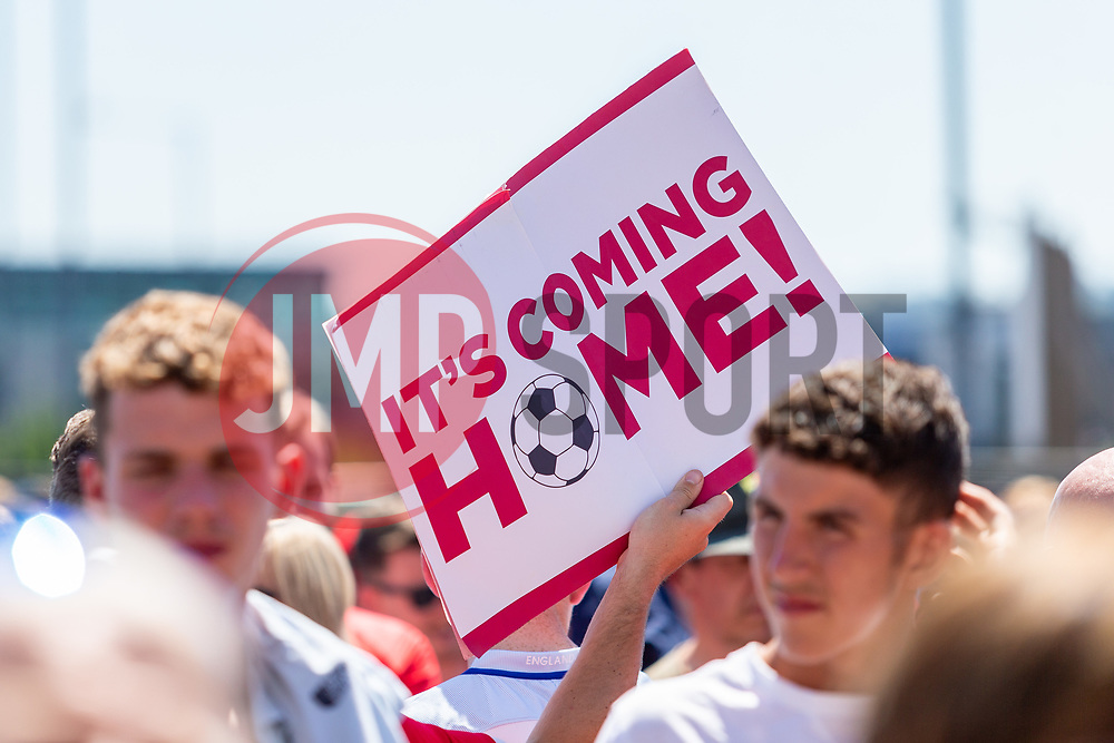 England fans hold a its coming home sign prior to kick off - Ryan Hiscott/JMP - 07/07/2018 - FOOTBALL - Ashton Gate - Bristol, England - Sweden v England, World Cup Quarter Final, World Cup Village at Ashton Gate