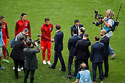 Emmanuel Macron, president de la Republique francaise and Thiago Silva (PSG), Noel Le Graet, president de la federation francaise de football and Unai Emery (PSG), Jean-Pierre Papin, Said Chabane, president du SCO Angers, Nasser Al-Khelaifi (psg), Edinson Roberto Paulo Cavani Gomez (psg) (El Matador) (El Botija) (Florestan) during the 100th French Cup, Final football match between SCO Angers and Paris Saint-Germain on May 27, 2017 at Stade de France in Saint-Denis, France - Photo Stephane Allaman / ProSportsImages / DPPI
