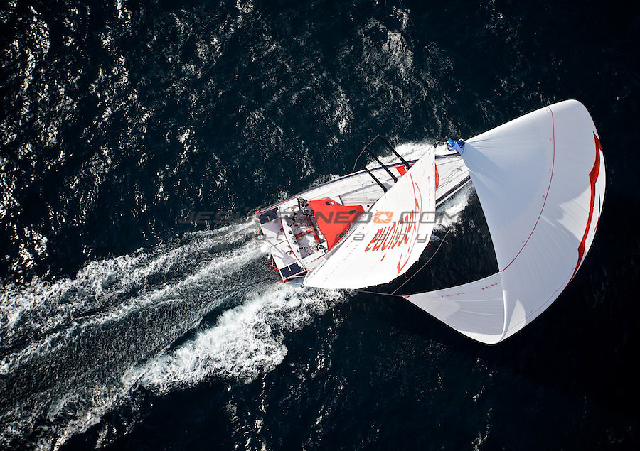 Imoca 60 ACCIONA.helicopter shots in Brest ,france,september 30th,2011