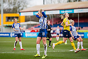 Emily Simpkins (Brighton & Hove) disappointed as the ball is saved during the FA Women's Super League match between Brighton and Hove Albion Women and Arsenal Women FC at The People's Pension Stadium, Crawley, England on 12 January 2020.