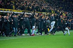05.02.2019, Signal Iduna Park, Dortmund, GER, DFB Pokal, Borussia Dortmund vs SV Werder Bremen, Achtelfinale, im Bild Jubel auf der Bremer Bank / an der Seitenlinie während des Elfmeterschießens // during the German Pokal round of 16 match between Borussia Dortmund and SV Werder Bremen at the Signal Iduna Park in Dortmund, Germany on 2019/02/05. EXPA Pictures © 2019, PhotoCredit: EXPA/ Andreas Gumz<br /> <br /> *****ATTENTION - OUT of GER*****