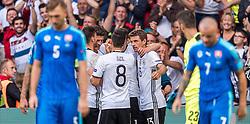 26.06.2016, Stade Pierre Mauroy, Lille, FRA, UEFA Euro 2016, Deutschland vs Slowakei, Achtelfinale, im Bild Torjubel Deutschland nach dem 2:0 durch Mario Gomez (GER), Mesut Oezil (GER), Thomas Mueller (GER) // Goal Celebration Germany after Mario Gomez (GER) scores Mesut Oezil (GER) Thomas Mueller (GER) during round of 16 match between Germany and Slovakia of the UEFA EURO 2016 France at the Stade Pierre Mauroy in Lille, France on 2016/06/26. EXPA Pictures © 2016, PhotoCredit: EXPA/ JFK