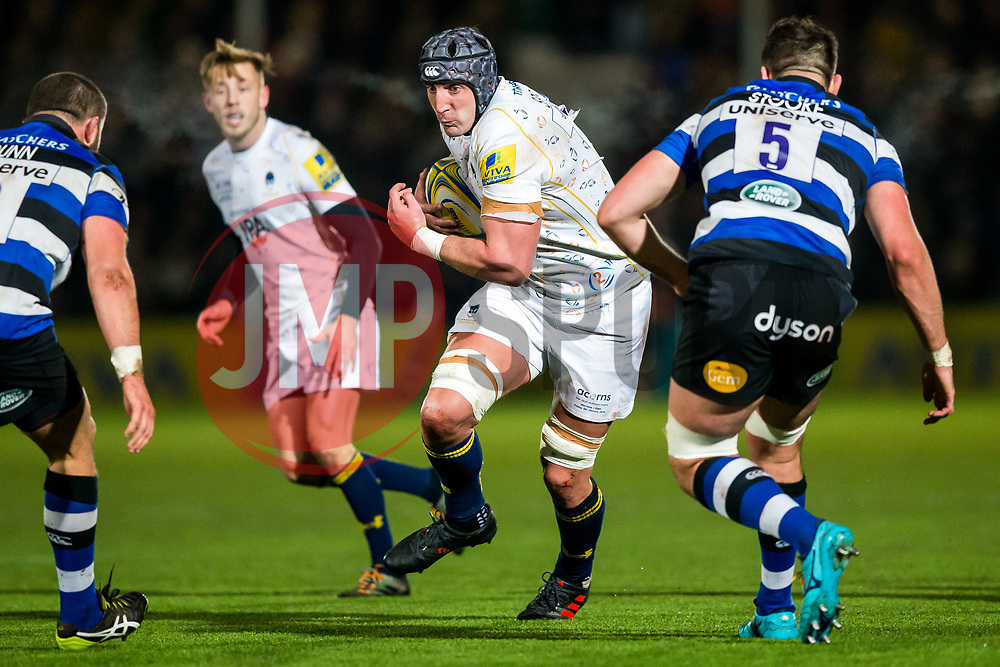 Will Spencer of Worcester Warriors in action - Rogan/JMP - 05/01/2018 - RUGBY UNION - Sixways Stadium - Worcester, England - Worcester Warriors v Bath Rugby - Aviva Premiership.