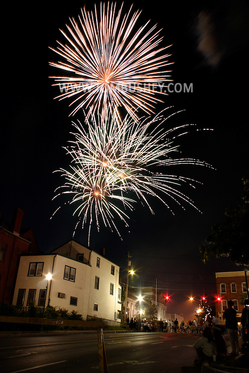 Fireworks burst over Middletown, N.Y., on July 2, 2004.
