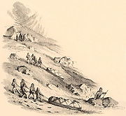 Travelling by sledge in the Arctic. Engraving of 1881 after 'Stray Leaves from an Arctic Journal' by Sherard Osborn (1852). Osborn (1822-1875) was a British naval officer.