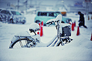 A bike in the snow.