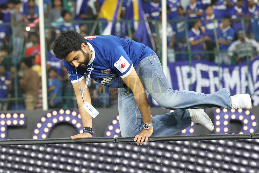 Abhishek Bachchan owner of Chennaiyin FC match 46 of the Hero Indian Super League between Chennaiyin FC and FC Pune City held at the Jawaharlal Nehru Stadium, Chennai India on the 13th January 2018<br /> <br /> Photo by: Arjun Singh  / ISL / SPORTZPICS