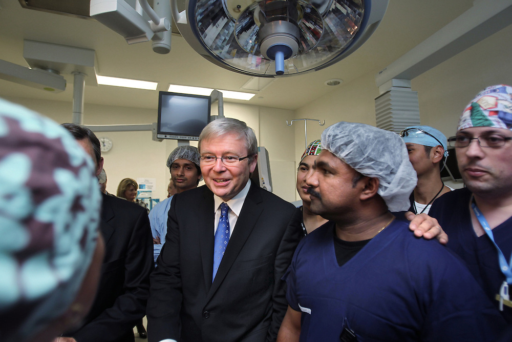 The Prime Minister Kevin Rudd at the Alfred Centre at the Alfred Hospital with Premier John Brumby to sign the COAG Agreement on health - Pic By Craig Sillitoe 29/05/2010 SPECIAL 000 melbourne photographers, commercial photographers, industrial photographers, corporate photographer, architectural photographers, This photograph can be used for non commercial uses with attribution. Credit: Craig Sillitoe Photography / http://www.csillitoe.com<br /> <br /> It is protected under the Creative Commons Attribution-NonCommercial-ShareAlike 4.0 International License. To view a copy of this license, visit http://creativecommons.org/licenses/by-nc-sa/4.0/.